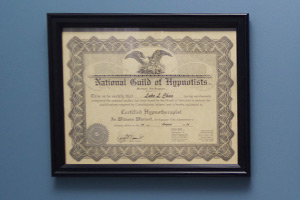 National Guild of Hypnotists certificate